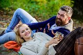 Vacation Weekend Picnic Camping And Hiking. Tourism Concept. Picnic Time. Happy Loving Couple Relaxi poster