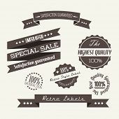 Vector Old dark retro vintage elements (quality, sale, guaranty)