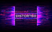 Distorted Glitch Banner. Dynamic Distortion With Purple Elements. Futuristic Poster. Future Design T poster