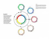 Infographic Template, Circle Design With Arrows Sign And 5 Options Or Steps. Can Be Used For Busines poster