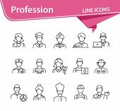 Profession Icons. Set Of Line Icons On White Background. Hotel Receptionist, Chef, Doctor. Occupatio poster
