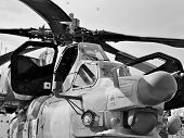 stock photo of attack helicopter  - Attack helicopter is armed with rockets bombs guns and able to fight day and night - JPG