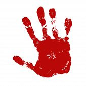 Hand Paint Print, Isolated White Background. Red Human Palm And Fingers. Abstract Art Design, Symbol poster