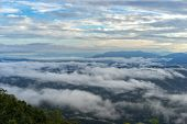 Sea Mist Scenery The Morning Mist Natural Sky, The Sea Of Fog From Northern Thailand, Mountains View poster
