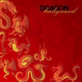 Traditional Chinese Red Dragon Background Banner Vector Illustration. Legendary Creatures Of Chinese poster