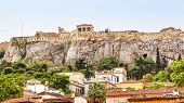 Acropolis Of Athens Behind Plaka District, Greece. It Is A Top Landmark Of Old Athens. Panorama Of T poster