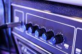 Sound Amplifier Close-up, Audio System. Sound Concert Equipment. poster