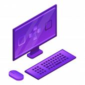 Desktop Computer Icon. Isometric Of Desktop Computer Vector Icon For Web Design Isolated On White Ba poster