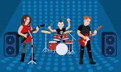 Rock Group Band Concept Banner. Flat Illustration Of Rock Group Band Concept Banner For Web Design poster
