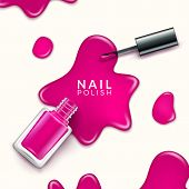 Nail Polish Beauty Paint Drop. Cosmetic Bottle Makeup Polish Nail Or Manicure Design poster