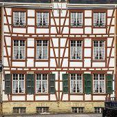 Large Facade Of Fachwerk House In Monschau, Eifel Germany poster