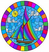 Illustration In Stained Glass Style With An Old Ship Sailing With Rainbow Sails Against The Sea And  poster
