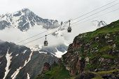 Ropeway In Caucasus Mountains. Ski Lift In Mountain. Beautiful Mountain Landscape Of Caucasus. Mount poster
