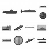Vector Design Of Army And Deep   Symbol. Collection Of Army And Nuclear Vector Icon For Stock. poster
