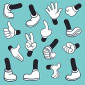 Cartoon Legs Hands. Leg In Boots And Gloved Hand Pointing Ok, Gestures Parts Body Comic Feet In Shoe poster