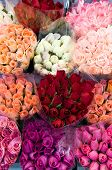image of flower shop  - pattern of rose bouquets - JPG