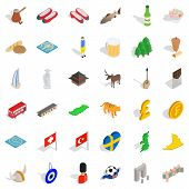 British Flag Icons Set. Isometric Style Of 36 British Flag Icons For Web Isolated On White Backgroun poster