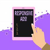 Handwriting Text Responsive Ads. Concept Meaning Automatically Adjust Form And Format To Fit Existin poster