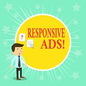 Word Writing Text Responsive Ads. Business Concept For Automatically Adjust Form And Format To Fit E poster