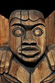 pic of indian totem pole  - Wooden carved totem in the town of Duncan - JPG