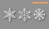 Silver Christmas Decoration Set. Silver Glitter Covered Snowflake poster