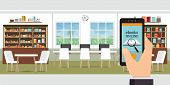 Ebook Online Modern Library Interior With Bookshelves, Online Library, Education Vector Illustration poster