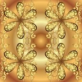 Golden Pattern On Yellow And Brown Colors With Golden Elements. Traditional Orient Ornament. Seamles poster