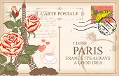 Retro Postcard With Eiffel Tower In Paris, France. Romantic Vector Postcard With Roses, Postmark, Po poster