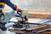 Cutting Of Iron Steel Tmt Bars With Motorised Steel Cutter And Generation Of Sparks poster