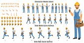 Handyman Character Model Sheet With Walk Cycle And Run Cycle Animation Sequence poster