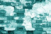Old Grungy Brick Wall Texture In Cyan Tone. Abstract Architectural Background And Texture For Design poster