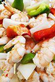 Grilled Shrimp Skewers. Seafood, Sea Shells. Shrimp Skewers With Pepper, Herbs, Garlic Closeup, Copy poster