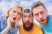 Amazed Surprised Face Expression. How To Impress People. Shocking Impression. Men With Beard And Wom poster