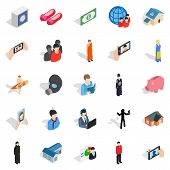 Pair Icons Set. Isometric Set Of 25 Pair Icons For Web Isolated On White Background poster