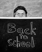 Teacher Or School Principal Welcomes Inscription Back To School. Teachers Life Full Of Stress. Teach poster