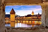 Luzern Kapelbrucke And Riverfront Architecture Famous Swiss Landmarks View Through Stone Window, Fam poster
