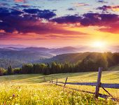 Majestic sunset in the mountains landscape.Carpathian, Ukraine.