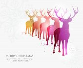 stock photo of deer family  - Contemporary Merry Christmas snowflakes and deers transparency background - JPG
