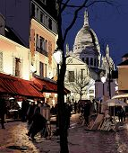 vector illustration of Paris - Montmartre in winter