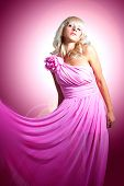 picture of barbie  - Beautiful young woman in a pink silk cloth - JPG
