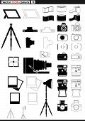 Vector set web icons. retro camera tripod