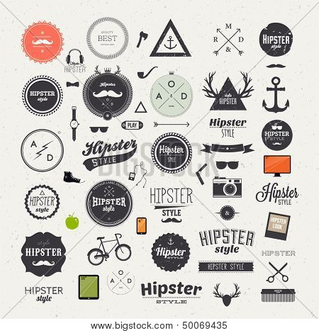 Hipster style infographics elements and icons set for retro design. With bicycle, phone, sunglasses, poster