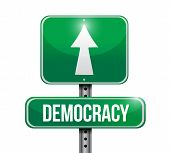 Democracy Road Sign Illustration Design