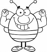 Black And White Pudgy Bee Cartoon Character Showing Muscle Arms