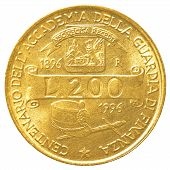 stock photo of lira  - 200 italian lira coin isolated on white background - JPG