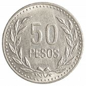 picture of colombian currency  - 50 Colombian pesos coin isolated on white background - JPG