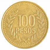stock photo of colombian currency  - 100 Chilean Pesos coin isolated on white background - JPG