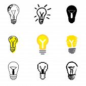 Lamp Idea Icons Set