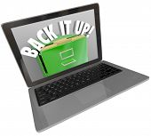 A laptop computer screen with a filing cabinet and the words Back It Up to illustrate a backup syste