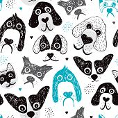 foto of chihuahua mix  - Seamless dog illustration set decorative background pattern in vector - JPG